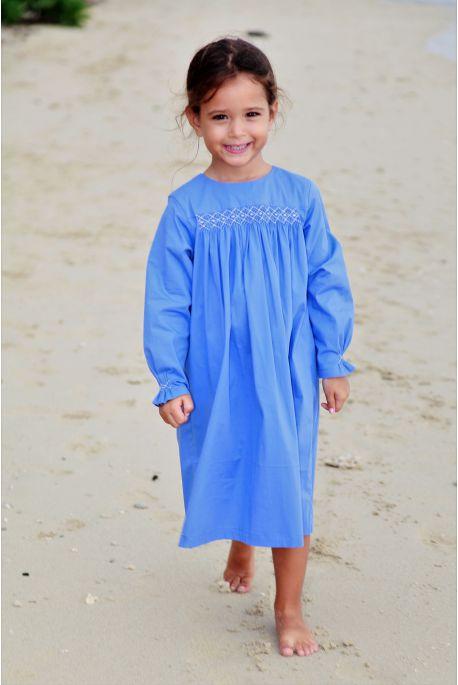 Chemise de Nuit Bleu à smocks Hermione