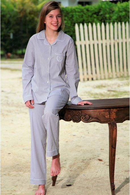 Pyjama Classique Carreau Ciel pour Femme Gloria
