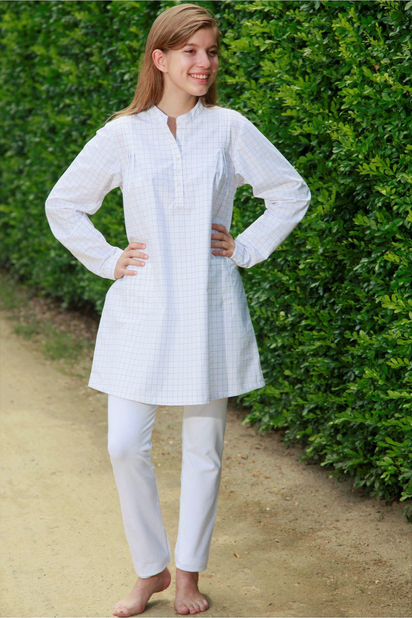 4d69db619695b Pyjama Long à carreaux pour Femme avec Legging Sybilline. Loading zoom