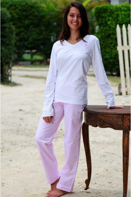 Pyjama Long à rayures rose pour Femme avec T-Shirt Victoire