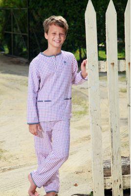 Pyjama Long à carreaux Bleu et rouge Pour Garçon Grégoire