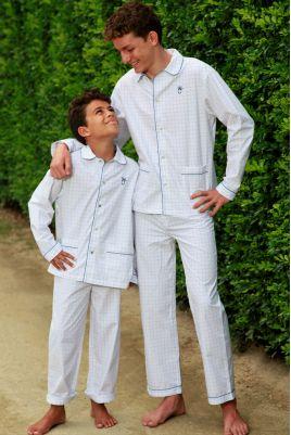 Pyjama Long à carreaux Bleu pour Garçon Roméo