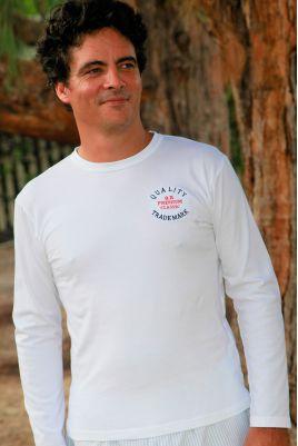 T Shirt Manches longues de Pyjama pour Homme Broderie Rouge