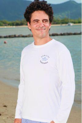 T Shirt Manches longues de Pyjama pour Homme Broderie Bleu