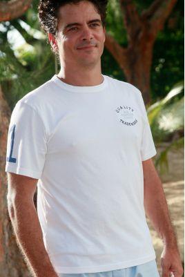 T Shirt Manches courtes de Pyjama pour Homme Broderie Bleu