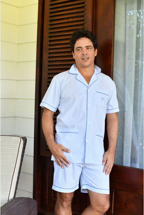 Pyjama Court à rayures ciel pour Homme Jules