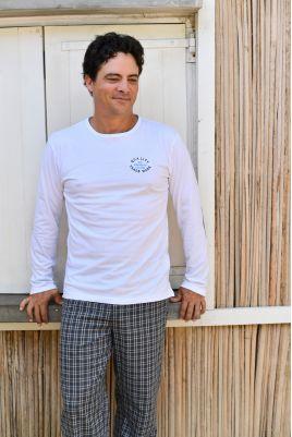 Pyjama Long Chaud pour Homme à carreaux gris Gonzague
