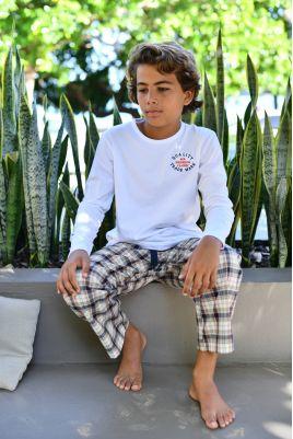 Pyjama Long Twill Carreau Bleu Garçon Gonzague Jr