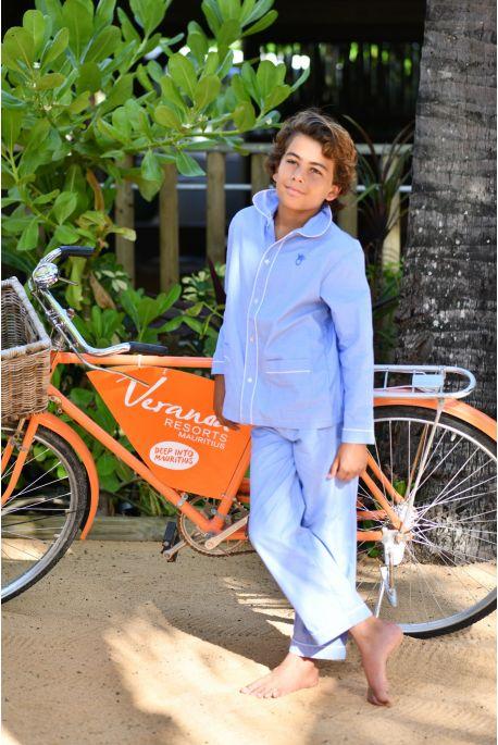 Pyjama Classique Long Louis Fil à Fil Ciel
