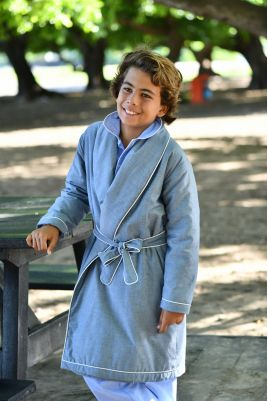 Robe de Chambre pour Garçons en tissu Chambray