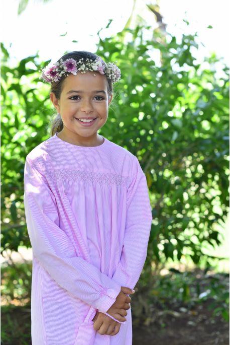 Chemise de Nuit pour Filles Hermione à rayure rose et blanc