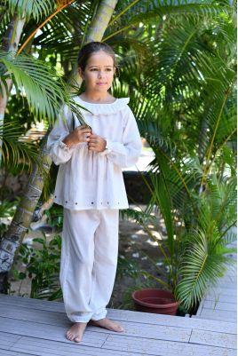 Pyjama Long en Voile imprimé pour Fille Castille