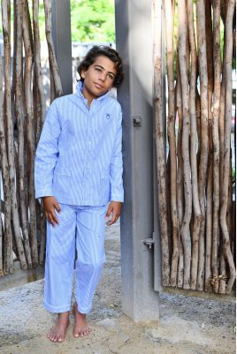 Pyjama Garçon Louis Oxford rayé ciel