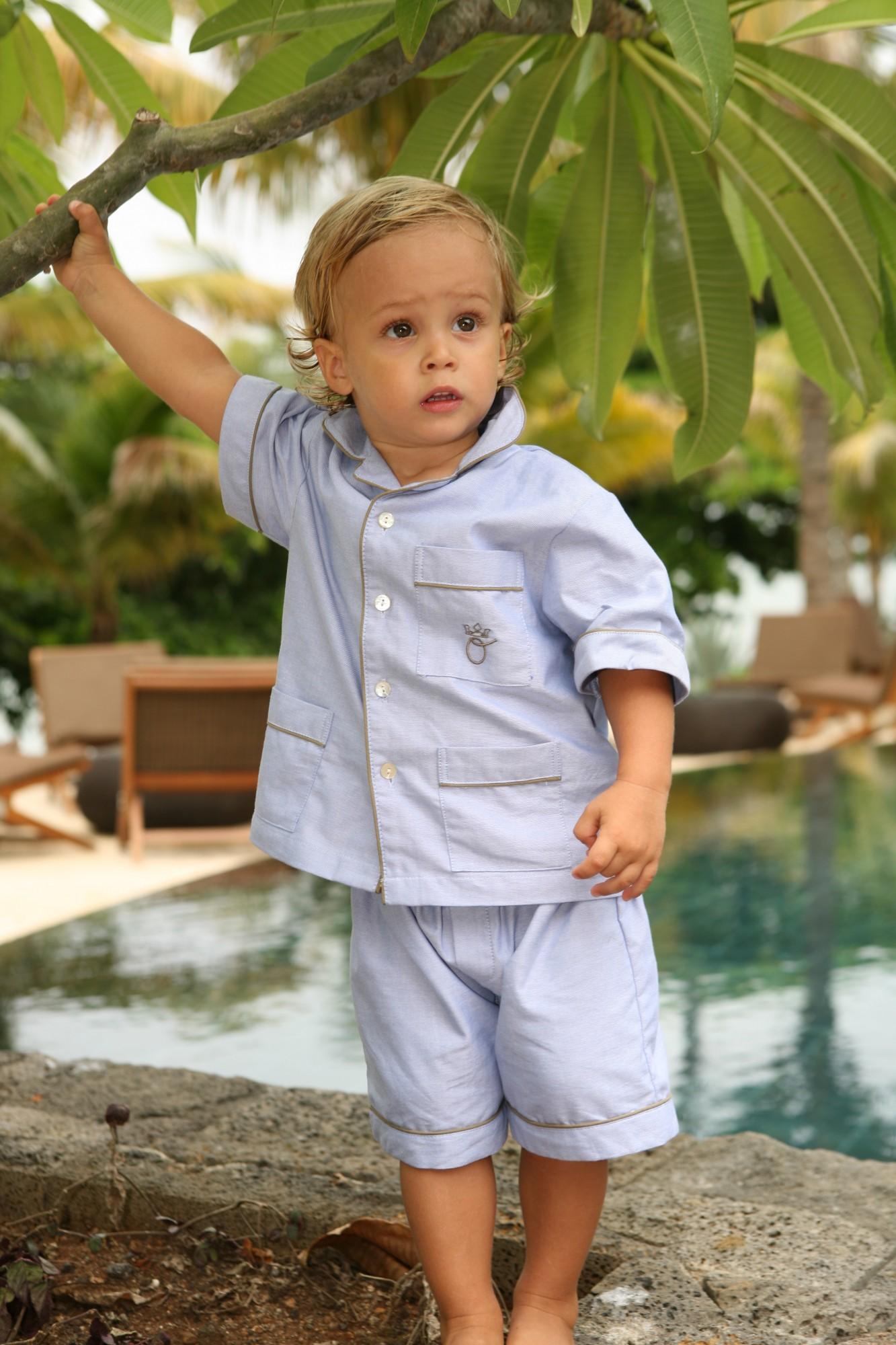 pyjama gar on jules bleu ciel l 39 orangerie. Black Bedroom Furniture Sets. Home Design Ideas