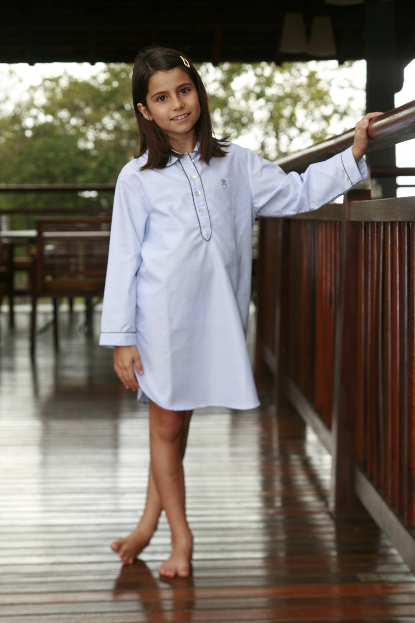 chemise de nuit fille juliette rayure ciel l 39 orangerie. Black Bedroom Furniture Sets. Home Design Ideas